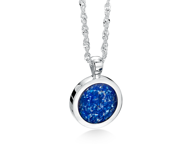 Ashes into glass fine jewelry handmade with loved ones round pendant silver blue aloadofball Gallery