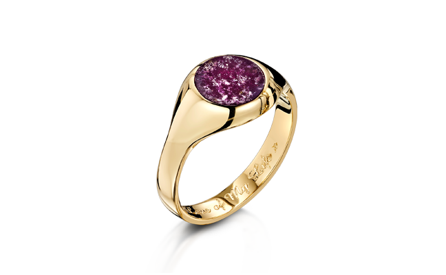 Signet Ring Gold Purple