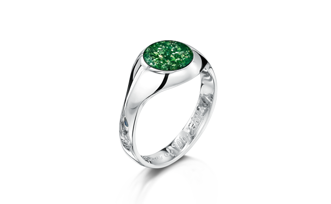 Signet Ring White Gold Green