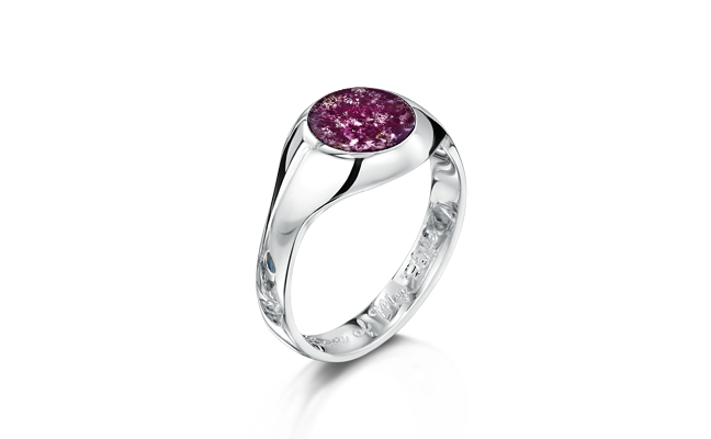 Signet Ring White Gold Purple