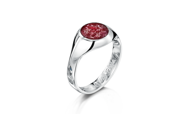 Signet Ring White Gold Ruby