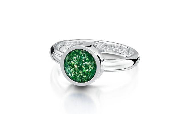 Tribute Ring White Gold Green