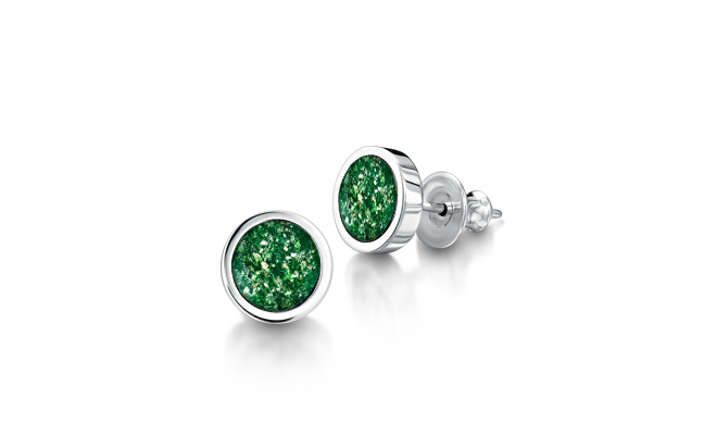 Earrings White Gold Green