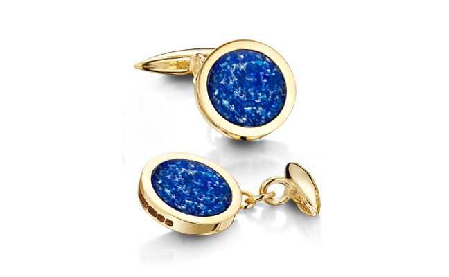 Cufflinks Gold Blue