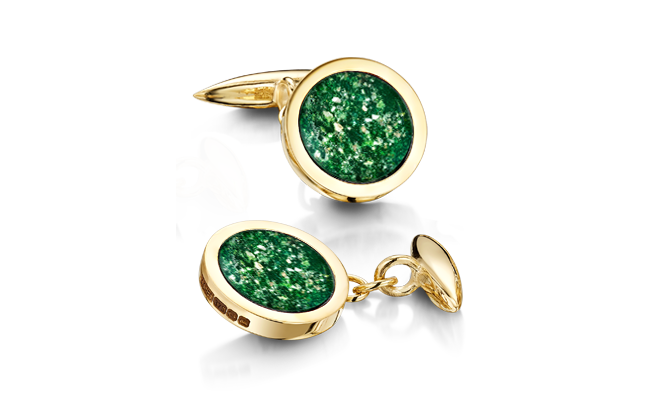 Cufflinks Gold Green