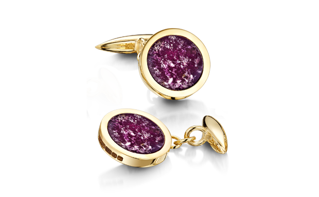 Cufflinks Gold Purple