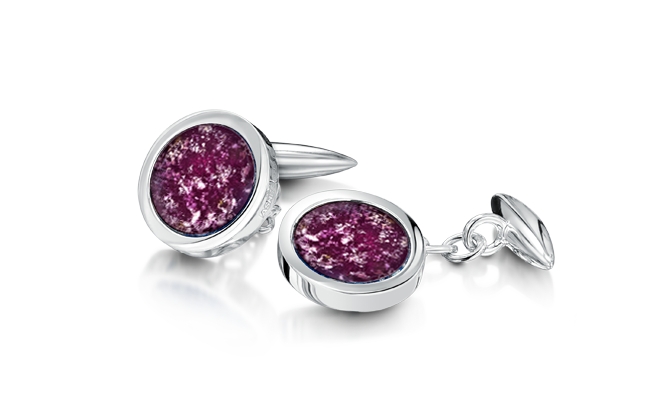 Cufflinks Silver Purple