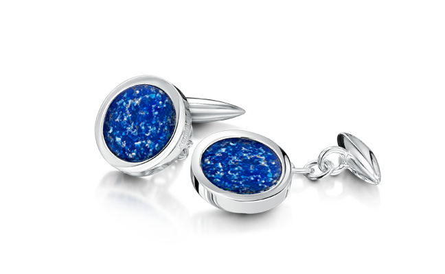 Cufflinks White Gold Blue