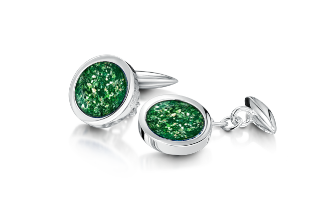 Cufflinks White Gold Green