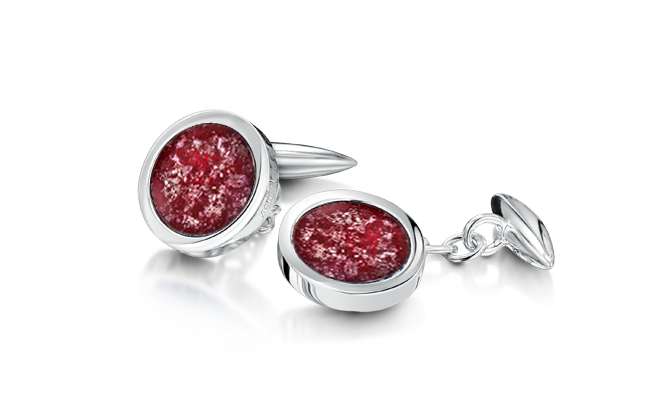 Cufflinks White Gold Ruby