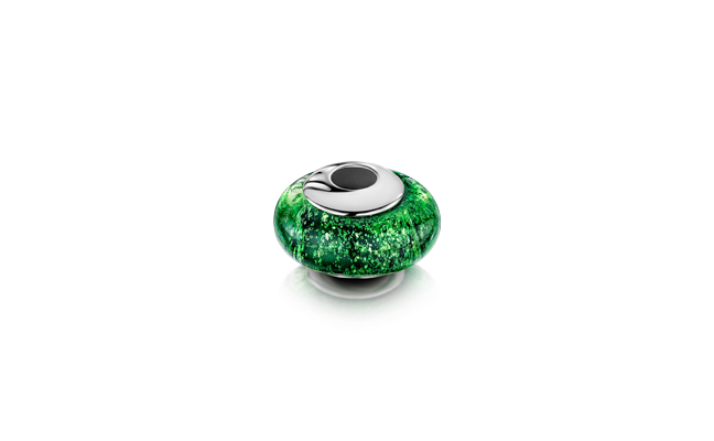 Charm Bead Green White Gold