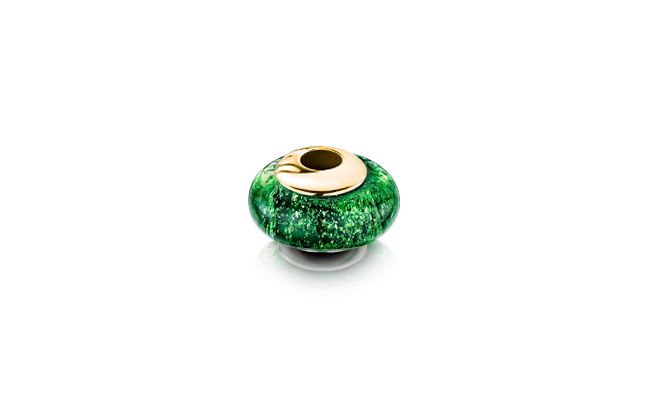 Charm Bead Green Gold