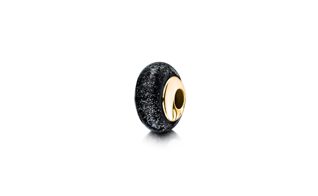 Charm Bead Black Gold
