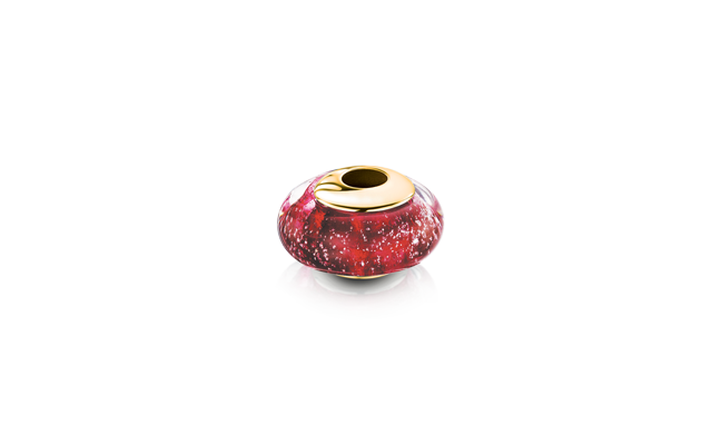 Charm Bead Ruby Gold
