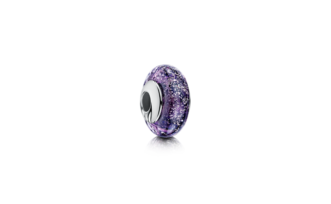 Charm Bead Purple White Gold