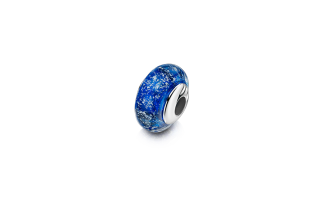 Charm Bead Blue White Gold