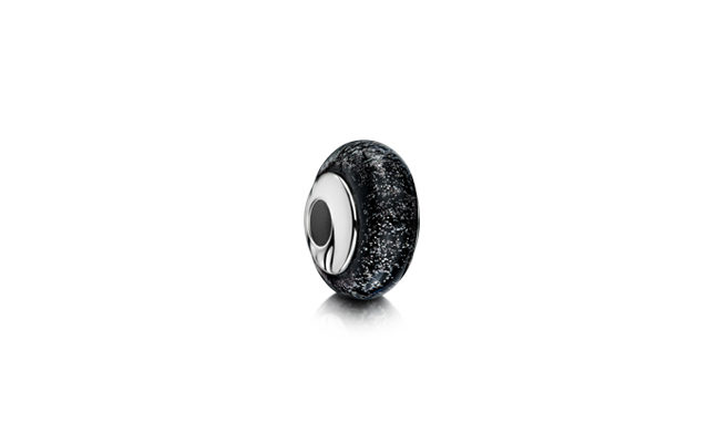 Charm Bead Black White Gold
