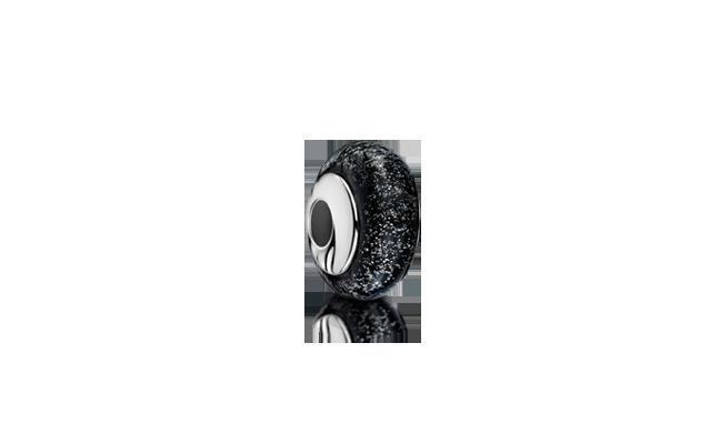 Charm Bead Black Silver