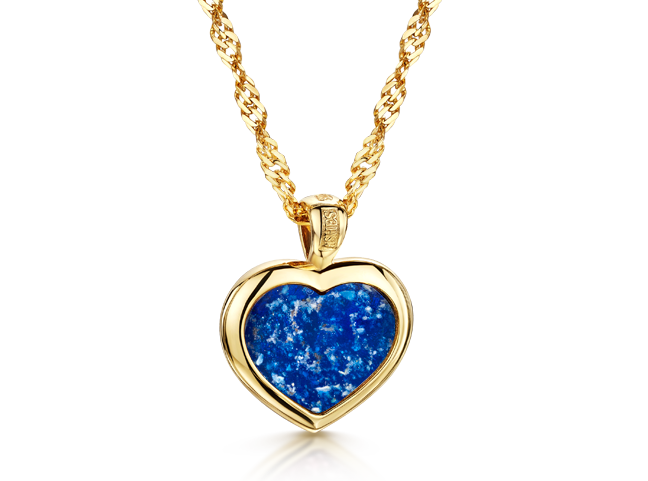 Heart Pendant Gold Blue