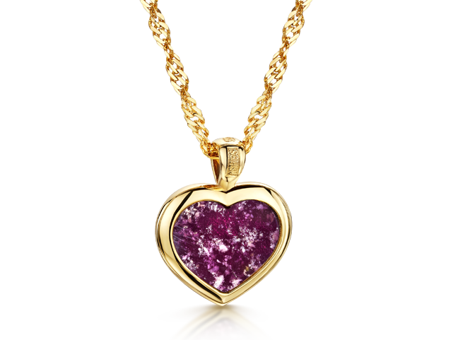 Heart Pendant Gold Purple