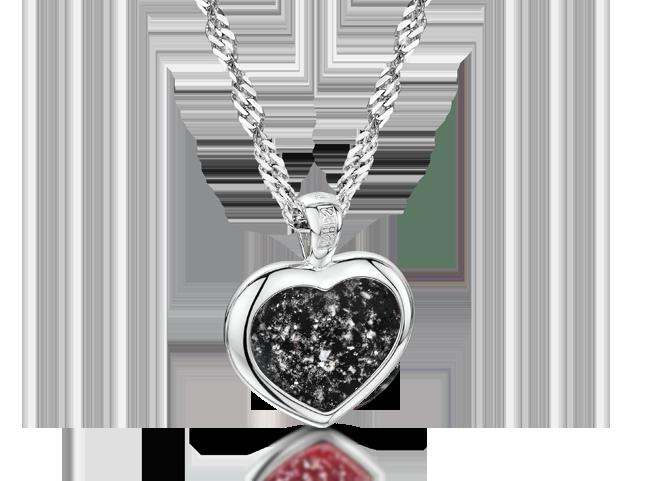 Heart Pendant Silver Black