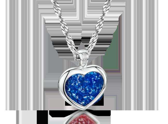 Heart Pendant Silver Blue