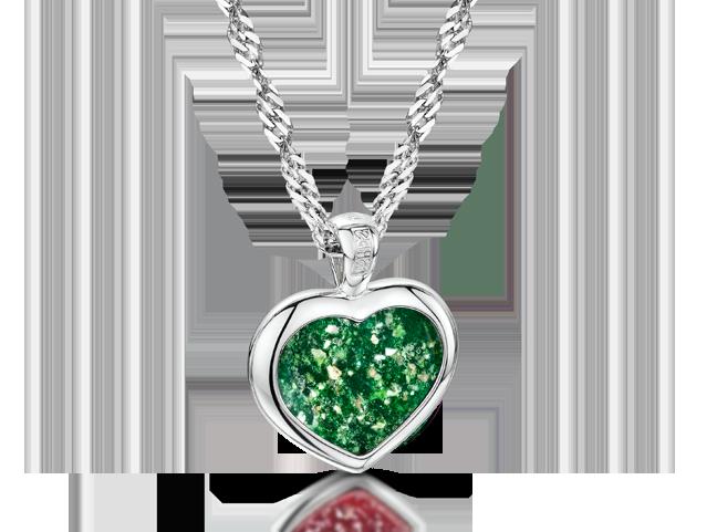 Heart Pendant Silver Green