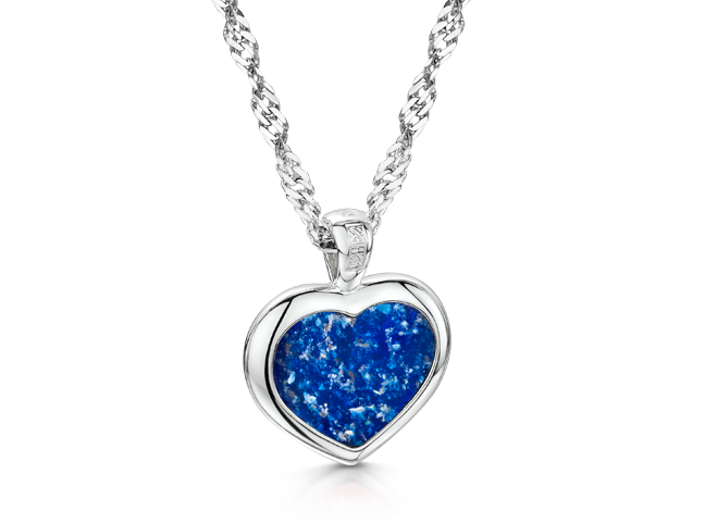 Heart Pendant White Gold Blue