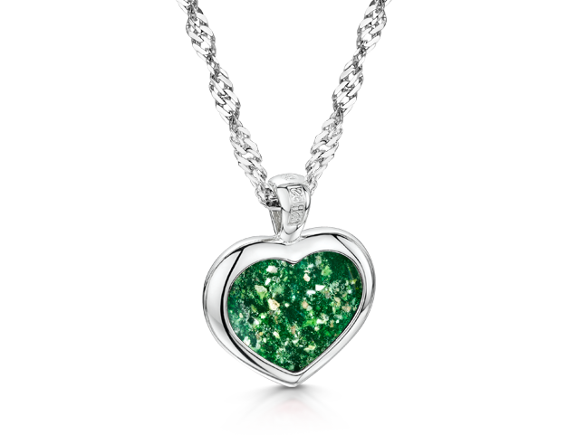 Heart Pendant White Gold Green