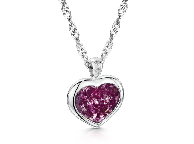 Heart Pendant White Gold Purple