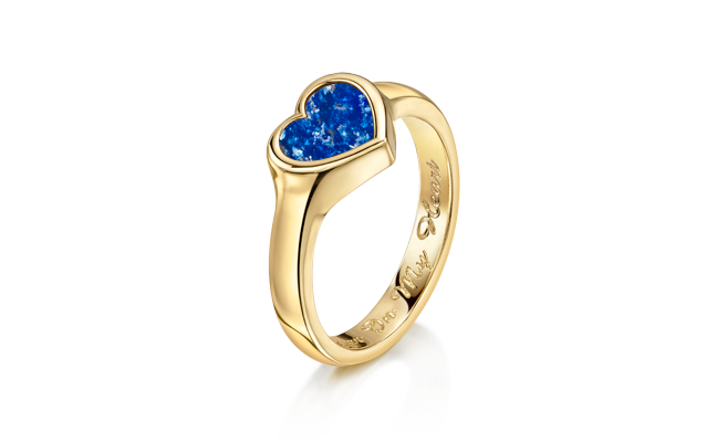 Heart Ring Gold Blue
