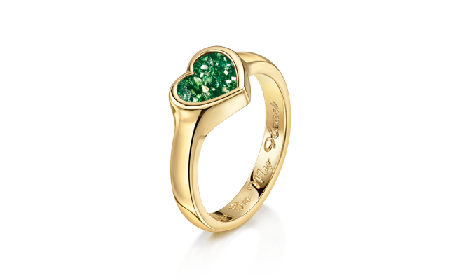 Heart Ring Gold Green