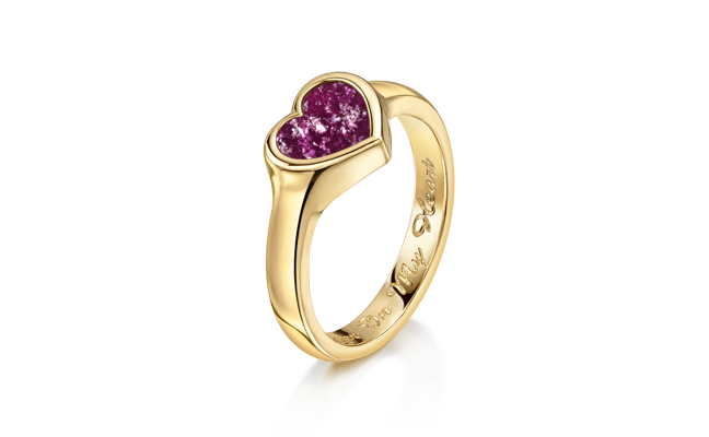 Heart Ring Gold Purple
