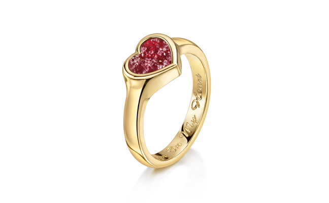 Heart Ring Gold Red