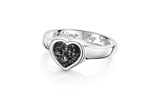 Heart Ring Silver Black