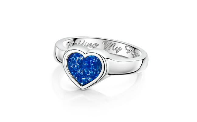Heart Ring Silver Blue