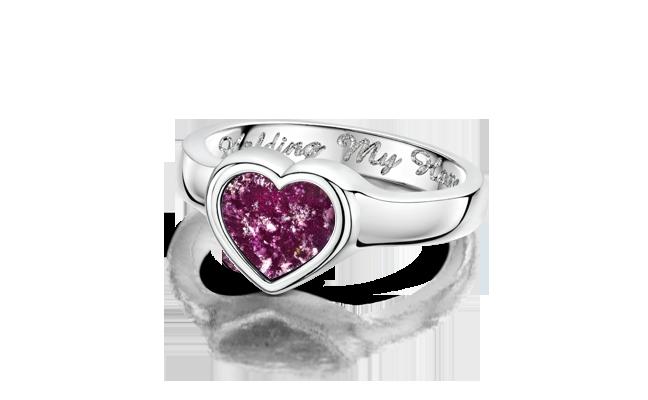 Heart Ring Silver Purple