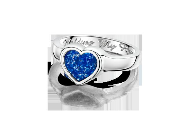 Heart Ring White Gold Blue