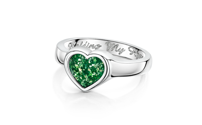 Heart Ring White Gold Green