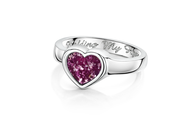 Heart Ring White Gold Purple