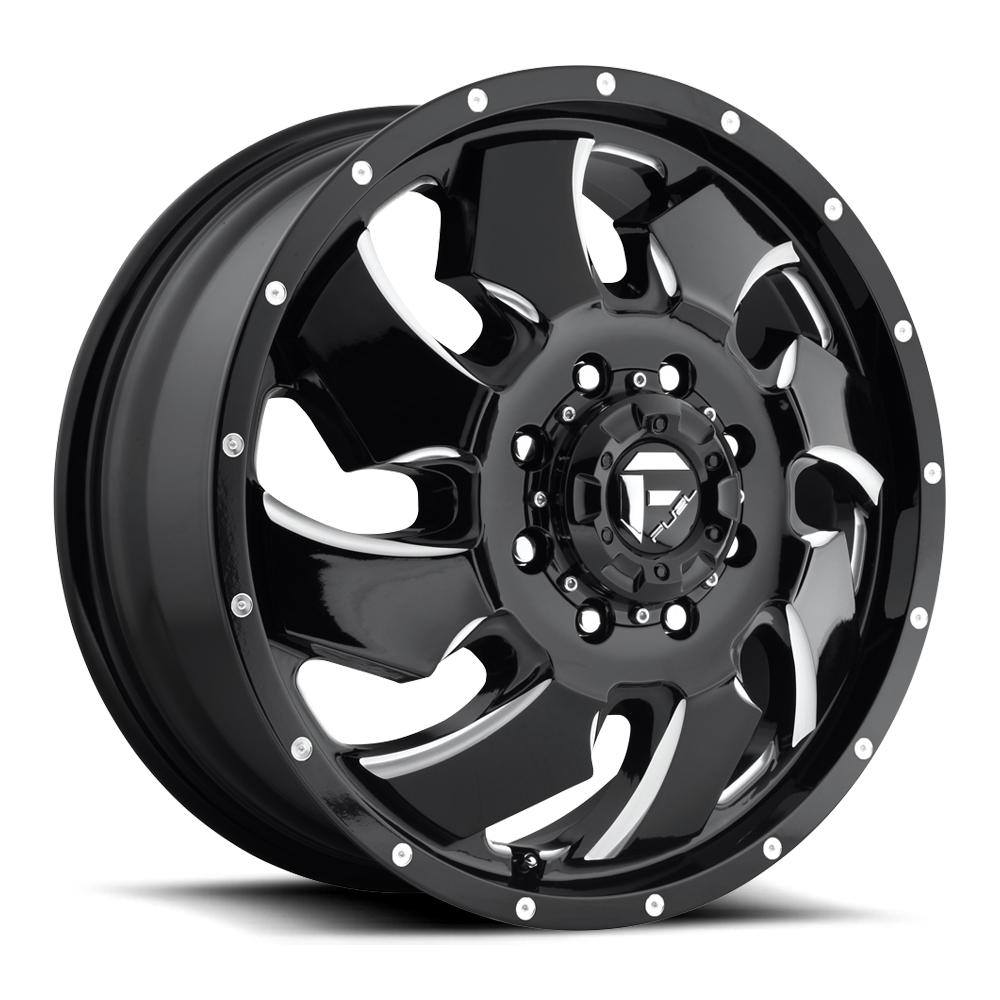 Fuel Offroad Wheels Fuel Offroad D574 Cleaver Dualie Front Black and Milled