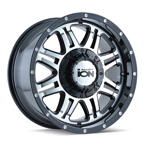 17x8 ION Wheels 186 Black Machined Face