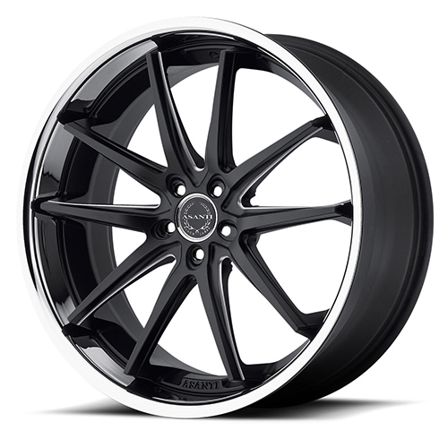 20x10 Asanti Black Label Wheels ABL-5 Matte Black Milled with SS Lip