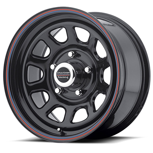 American Racing Wheels AR767 Gloss Black Steel With Red and Blue Stripe