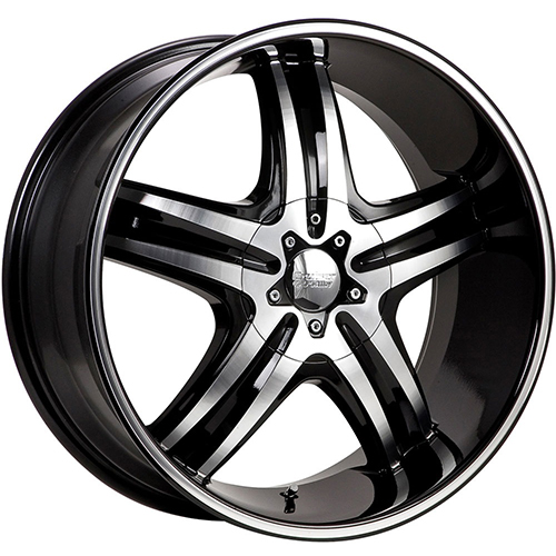 Cruiser Alloy Wheels Impulse Gloss Black with Mirror Machined Lip Edge and Spoke Accents