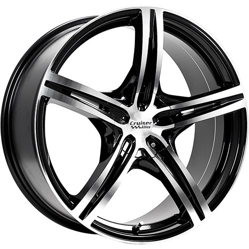 Cruiser Alloy Wheels Eclipse Mirror Machined Face and Lip Edge with Gloss Black Accents