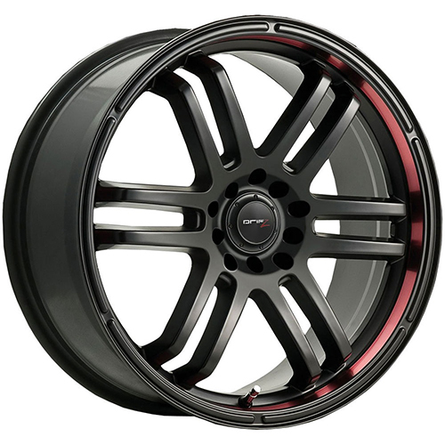 Drifz Wheels FX Carbon Black with Red Racing Stripe