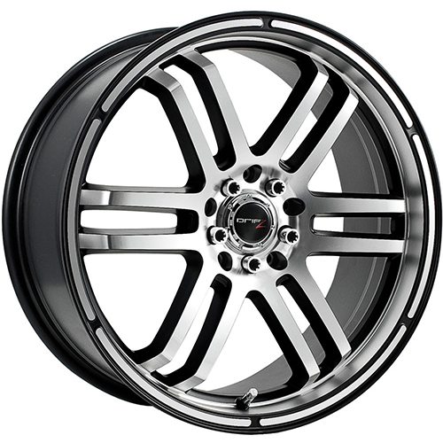 Drifz Wheels FX Machined Face and Lip with Gloss Black Accents