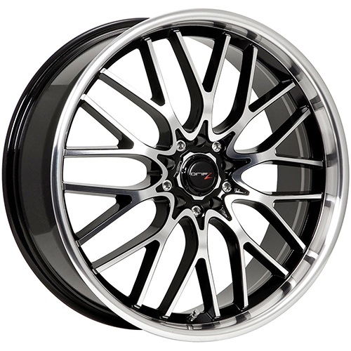 Drifz Wheels Vortex Machined Face and Lip with Gloss Black Accents