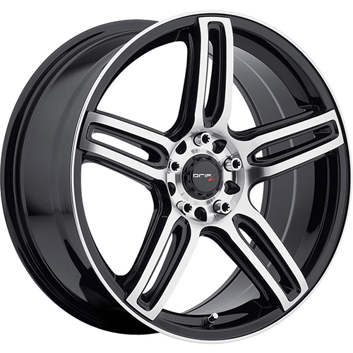 Drifz Wheels Tech R Mirror Machined Face and Lip Edge with Gloss Black Accents